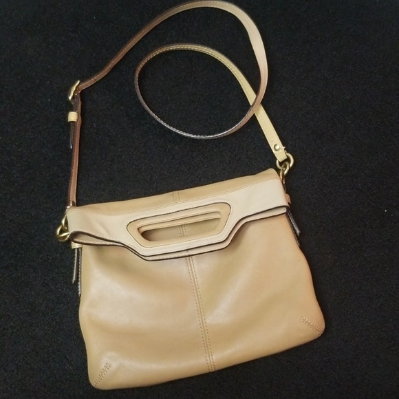 Coach Handbags - COACH Fold-Over Crossbody Tan Bonnie Beige 13388